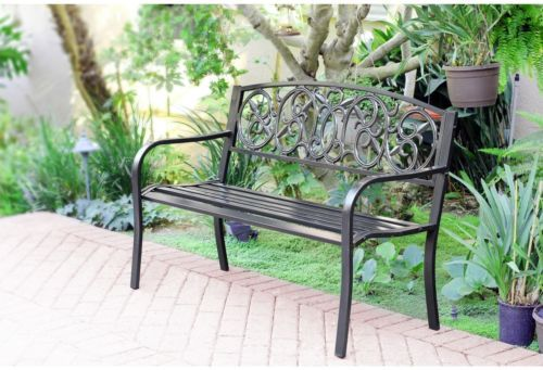 Steel Park Rustic Solid Metal Dining Bench Garden Furniture Outdoor Accent Chair