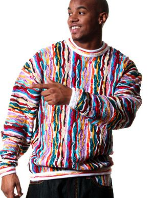 Remember trying to get Dad to buy a horrible Coogi Sweater!? Who woulda thought that something so hideous could become a ghetto fashion statement. Now pronounce Coo-Gee, by the way.