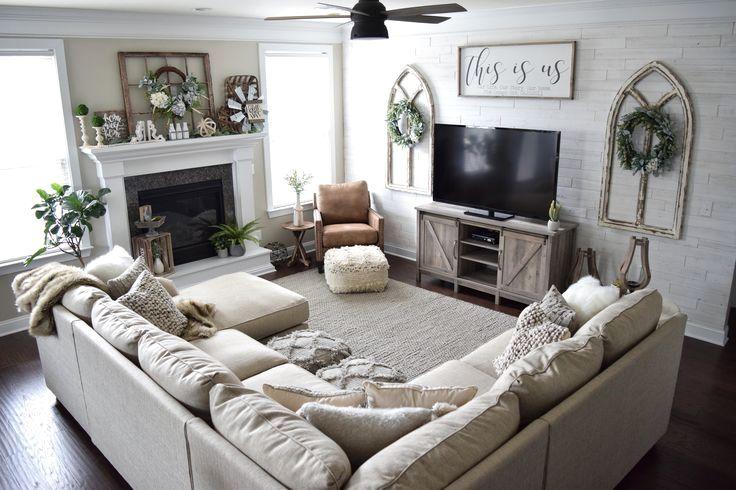 Soft Shaggy And Shiny The Celeste Pouf Is A Glamourous Throwback With A Creamy Wov Living Room Sofa Design Farmhouse Decor Living Room Farm House Living Room