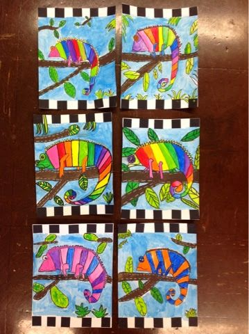 4th grade is finishing up these fantastic chameleons this week! We drew our chameleons by picking out the basic shapes, such as a triangle ...