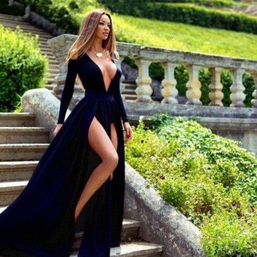 Buy Sexy Split Front Prom/Party Dress - Dark Royal Blue Deep V-Neck with Long Sleeves Prom Dresses 2016 under $118.99 only in Dressywomen.