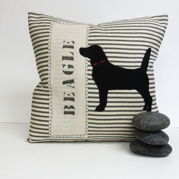 Beagle Pillow - Decorative Throw Pillow Cushion Cover with Black Beagle Felt Applique by ecarlateboutique on Etsy https://www.etsy.com/listing/111140649/beagle-pillow-decorative-throw-pillow
