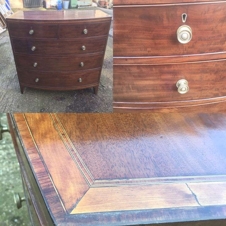 Georgian mahogany bow chest of draws with satinwood and boxwood inlay