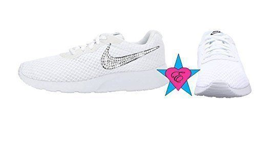 nice White Women Glitter Sneakers Bling Nike Tanjun Shoes  afbbedeed