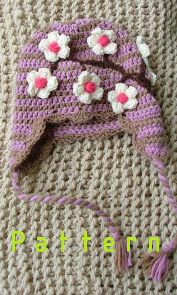 Crochet pattern-for The Cherry blossom earflip Hat for two-three years old girls