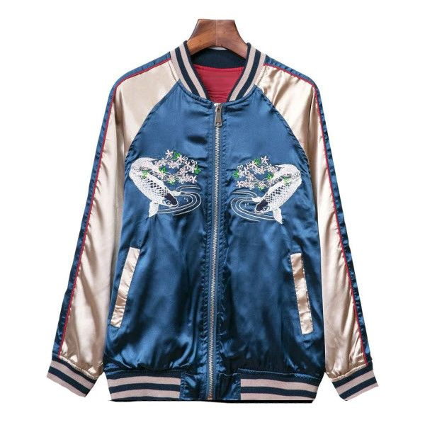 Oriental Express Bomber jacket (1.365 ARS) ❤ liked on Polyvore featuring outerwear, jackets, blue, blue bomber jacket, bomber style jacket, blouson jacket, bomber jacket and blue jackets