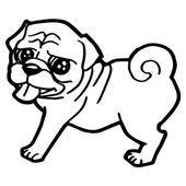 Ilustración de dibujos animados de perros divertidos para colorear libro Vectores De Stock Sin Royalties Gratis