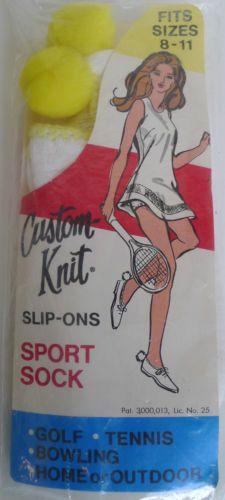 Custom-Knit-pom-pom-sport-socks-cotton-nylon-white-amp-yellow-vintage-ladies-MIP