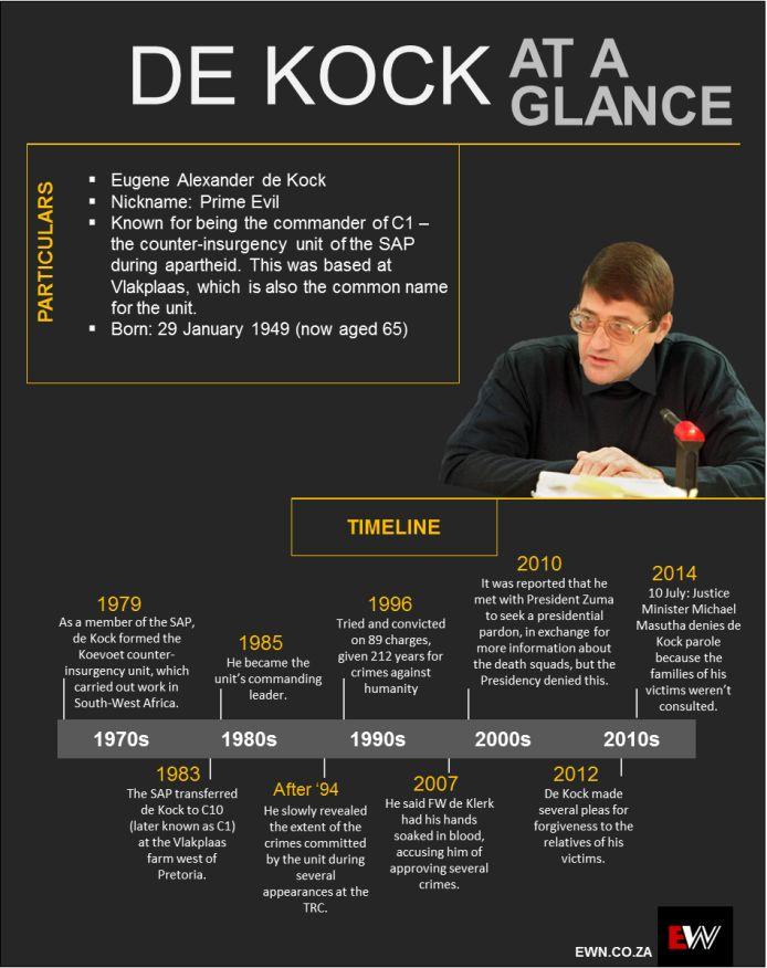 This is Eugene De Kock's criminal life timeline.