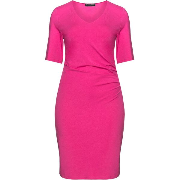 Manon Baptiste Pink Plus Size V-neck ruched jersey dress (3,650 MXN) ❤ liked on Polyvore featuring dresses, pink, plus size, plus size dresses, pink knee length dress, side ruched dress, v neck jersey and slimming dresses