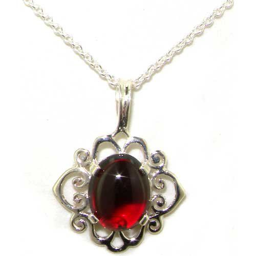 Ladies Solid 925 Sterling Silver Ornate 9x7mm Natural Cabochon Garnet Pendant Necklace. Genuine Natural Gemstone. Solid Sterling Silver. Made in England. Deluxe Presentation Ring Box included.