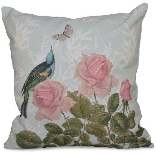 E by Design Botanical Blooms Asian Rose Decorative Pillow - Decorative Pillows at Hayneedle