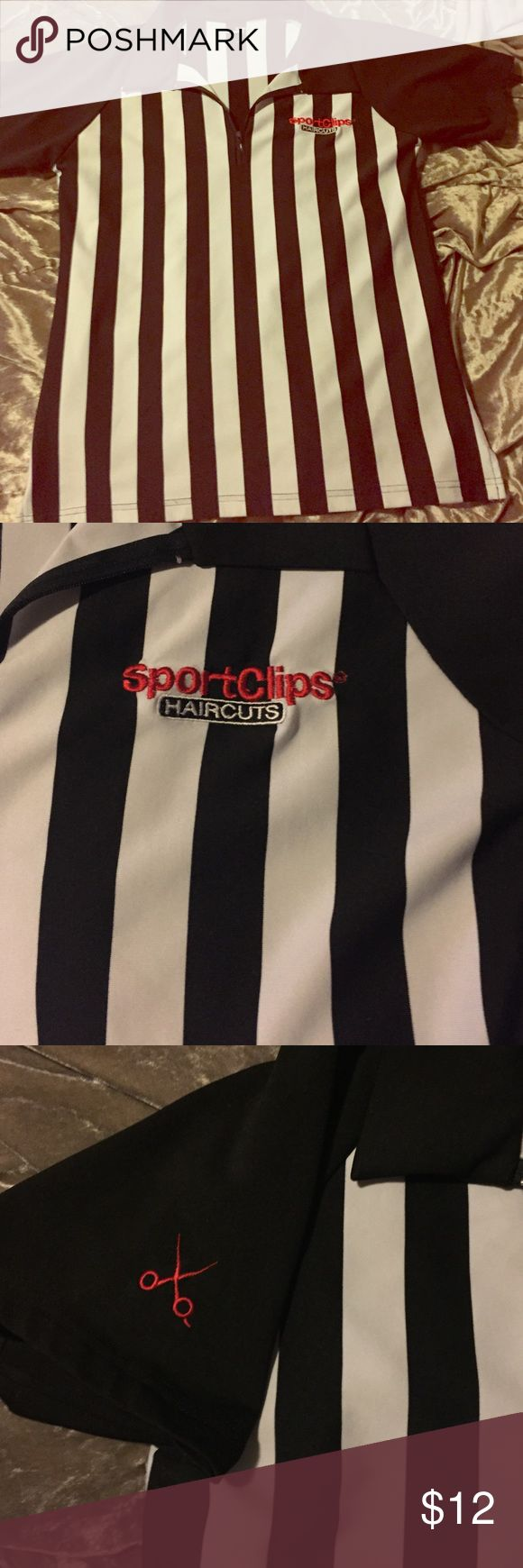 Official Sports Clips Referee uniform top Saved this from my early days for Halloween. Could be used properly or for lots of fun if ya been there done that. Haha. Prob size medium. Feel free to request measurements. sports clips Other