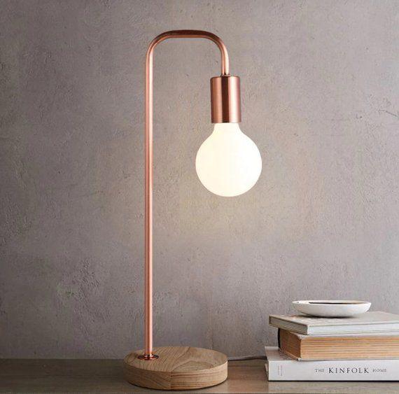 Rose Gold Scandinavian Desk Light Danish Design Table Office Etsy Gold Desk Lamps Desk Lamp Modern Lamp