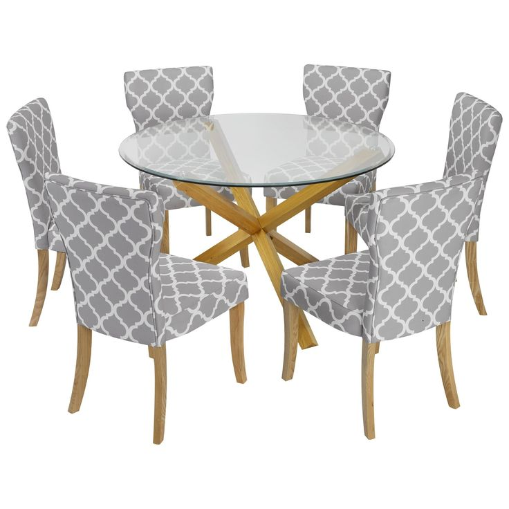 Solid Oak & Glass Round Dining Table and Chair Set with 6 Grey Fabric Seats — turquoise.co.uk