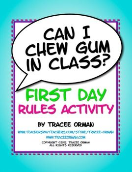 """Back to school first day or first week activity for classroom rules and procedures: """"Can I Chew Gum in Class?"""" and other questions students ask."""