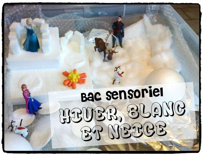 bac sensoriel hiver, reine des neiges, bac sensoriel froid et blanc, activité sensorielle enfant