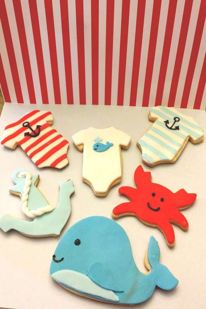 Nautical baby shower cookies!  See more party planning ideas at CatchMyParty.com!