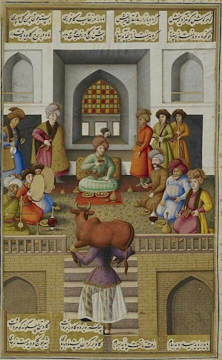 فتنهی گاو بر دوش در مقابل بهرام گور اثر محمد زمان نقاش عهد صفوی