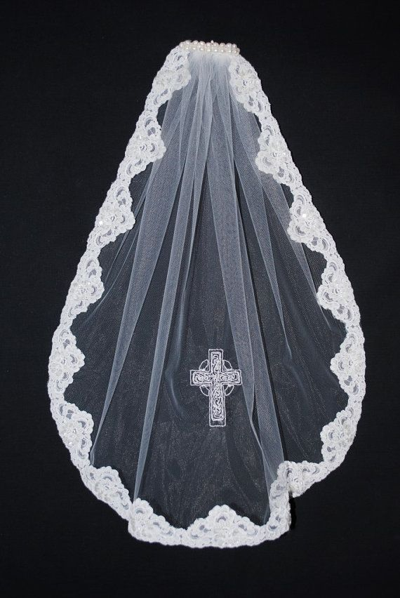 Brielle's Beaded Lace Communion Veil with by TimelessWeddingsShop, $85.00