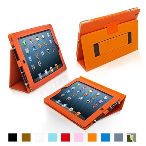 Snugg iPad 4 & iPad 3 Case - Leather Case Cover and Flip Stand with Elastic Hand Strap and Premium Nubuck Fibre Interior (Orange) - Automatically Wakes and Puts the iPad 4 & 3 to Sleep. Superior Quality Design as Featured in GQ Magazine by Snugg, http://www.amazon.com/dp/B008X1UYZ4/ref=cm_sw_r_pi_dp_hBAdrb013VB9N