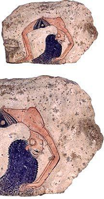 Sketch of a dancer - Limestone painted. New Kingdom, Dynasty XIX (ca. 1200 BC)
