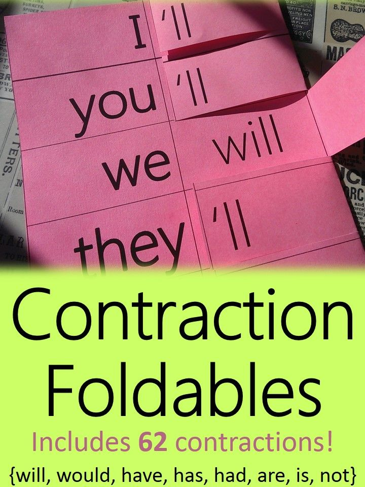 Contraction foldables perfect for interactive student notebooks (ISNs)! Includes 62  contractions with contractions using will, would, have, has, had, are, is, and not. #Teachering
