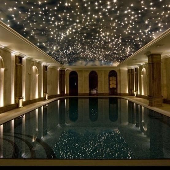 Indoor Pool with lights above it, looks like the stars in the sky, so magical!