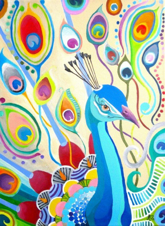 Peacock Original Painting by ashleywhitejacobsen on Etsy, $650.00