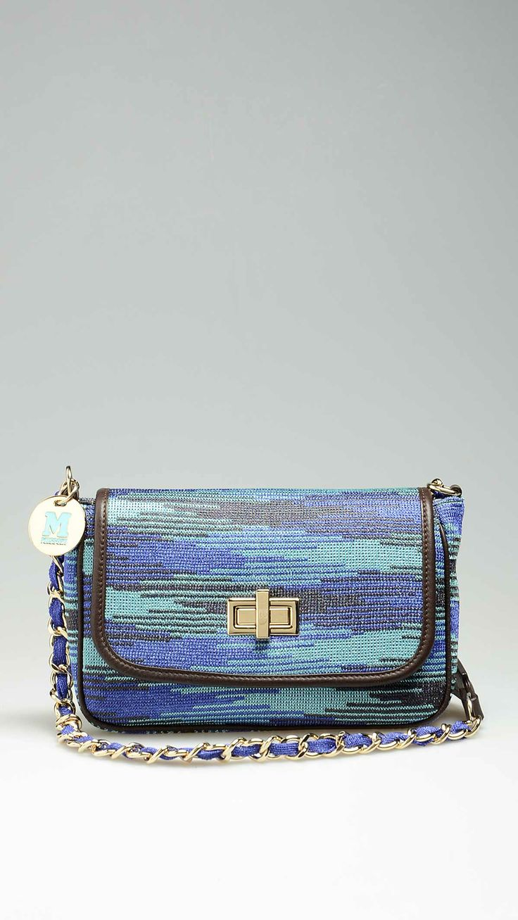 Missoni crossbag strap with chain details, blue-turquoise-black laminated woven and leather, top zip. Inside: one zip pocket, stripes lining,