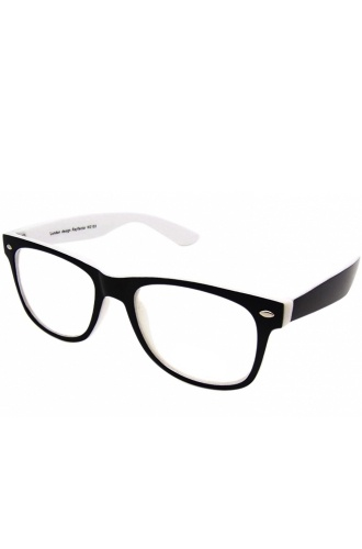 Double Colour Wayfarer Geek Glasses (White) - Sunglasses