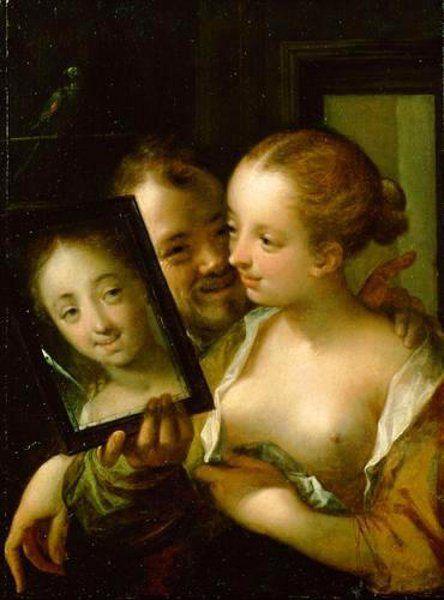 Figlarna para  z lustrem -Hans von Aachen (Colonia 1552 - Praga 1615)