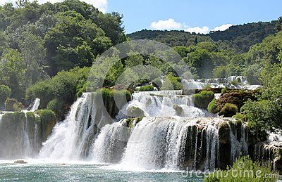 Beautiful and clear waterfall in Krka National Park Croatia