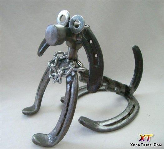 Horseshoe art ideas amazing horseshoes sculptures for Horseshoe project ideas