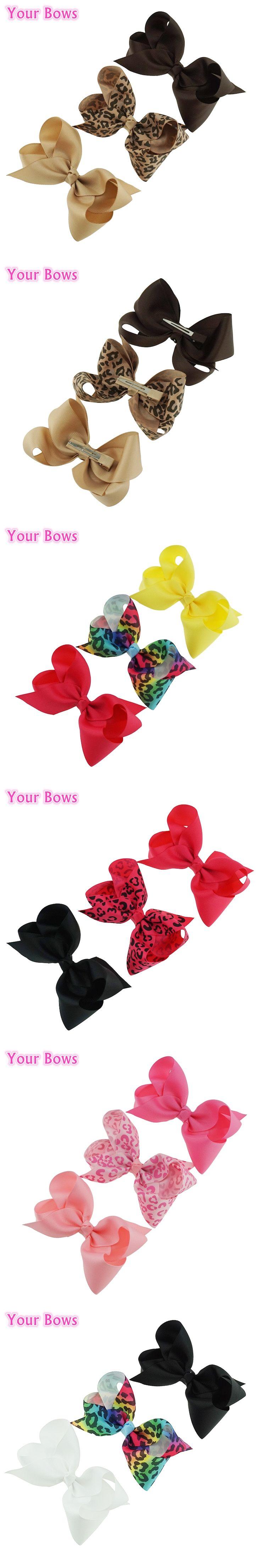 Your Bows 3Pcs/Lot 4inch Leopard Print Hair Bows  Girls Hair Clips Grosgrain Ribbon Bows Headwear Children Hair Accessories