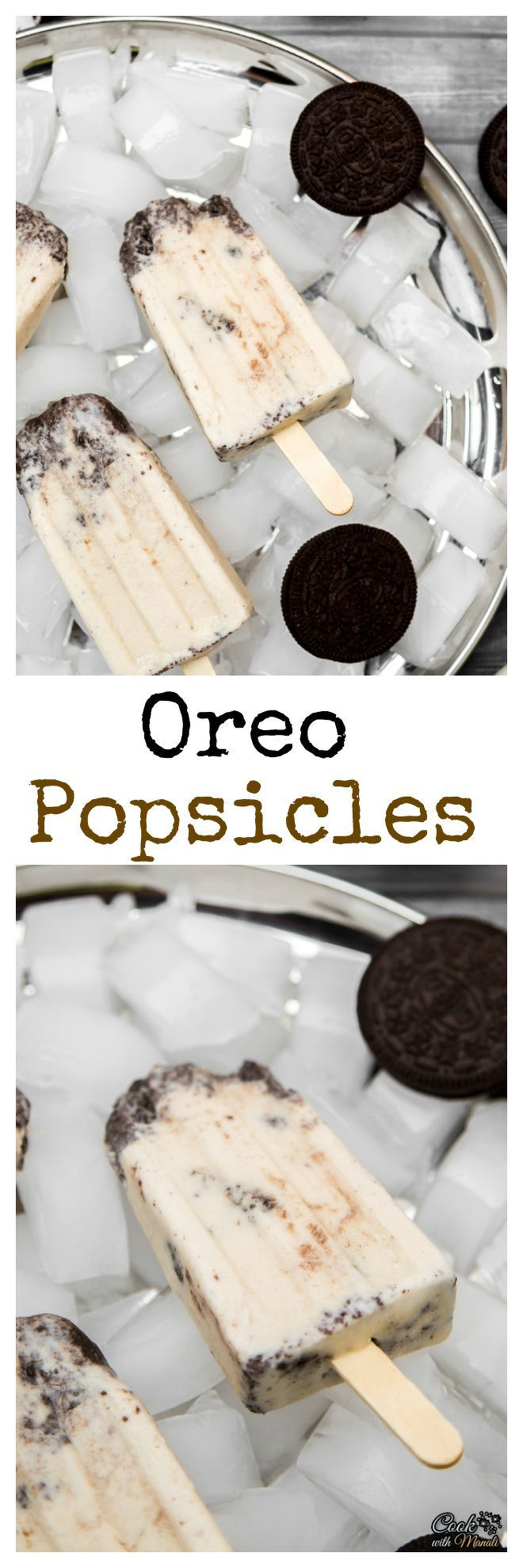 Creamy and delicious Oreo Popsicles made with only 4 ingredients!