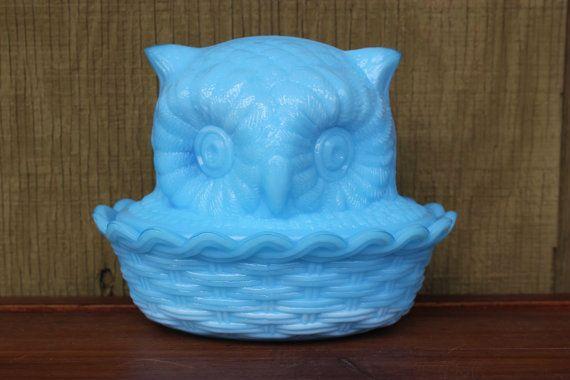 Powder-blue-milk-glass-owl-covered-dish