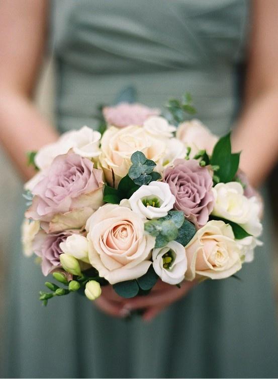 Blush, mauve and cream flowers for a bridesmaid's bouquet Pretty colors!!