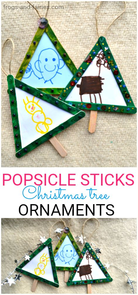 Christmas Tree Ornament made from popsicle sticks and drawings! This is a fun craft you can make with your kids! simple & cute! #christmasornaments #kidscrafts #christmascraftsforkids