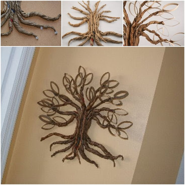 DIY Toilet Paper Roll Twisted Oak Tree Wall Art