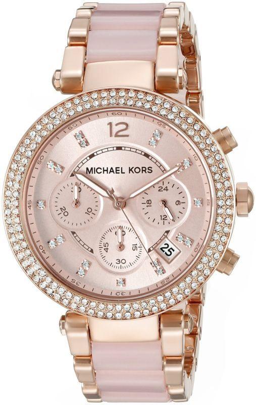 Michael Kors MK5896 Parker Rose Gold-Tone Blush Acetate Women's Watch #MK #MichaelKors #RoseGold click to purchase this bad boy ♡