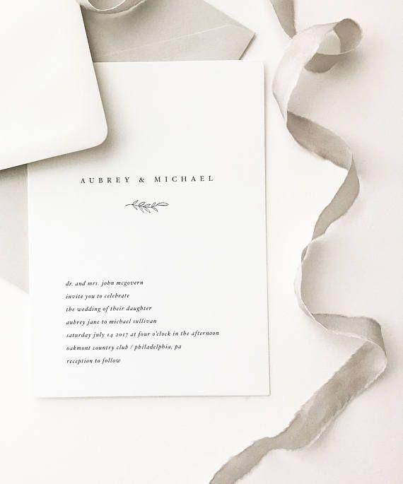 Aubrey Simple Wedding Invitation   by August and White | Minimalist Wedding Invitation | Letterpress Wedding Invitation | Wedding Invite