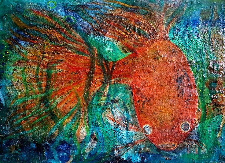 The goldfish  Vax and oil 100x50 cm  Charlotte Wiktorsdotter