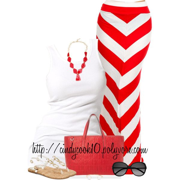 """Red and White Chevron Maxi"" by cindycook10 on Polyvore"