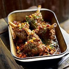 Debbie Major's braised lamb shanks are slow-cooked with onion, garlic, rosemary, thyme, bay and vinegar – which gives a bittersweet richness to the sauce.
