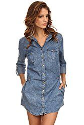 Denim Chic Women Short Jacket  Zoey - Blue Acid Mineral Wash Button Down Shirt Denim Dress Denim Chic Women Short Jacket, smart office casual wear. Made in China. Please ignore Amazon size chart and refer to our size chart next to main image.   #China #smart #chart #wear #casual #size #office
