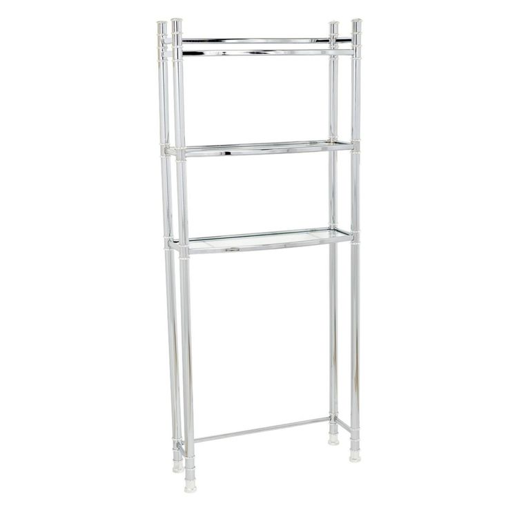 Zenna Home Bathroom Spacesaver with Tempered Glass Shelves - 15513617