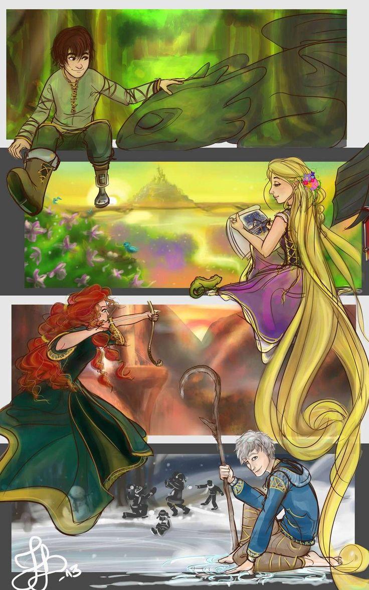 Rotbtd Anime | Fan art) Merida, Rapunzel, Jack et Hiccup - The Big Four