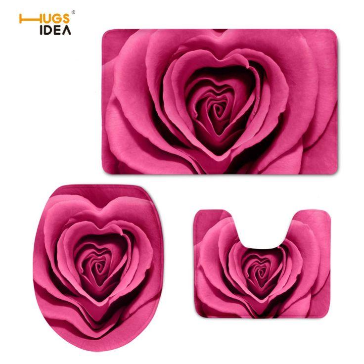 HUGSIDEA 3D Red Pretty Flower Rose Printing Toilet Seat Cover Mat 3PCS Set Warmer Soft Bathroom Carpet Toilet Accessories Set  #Affiliate