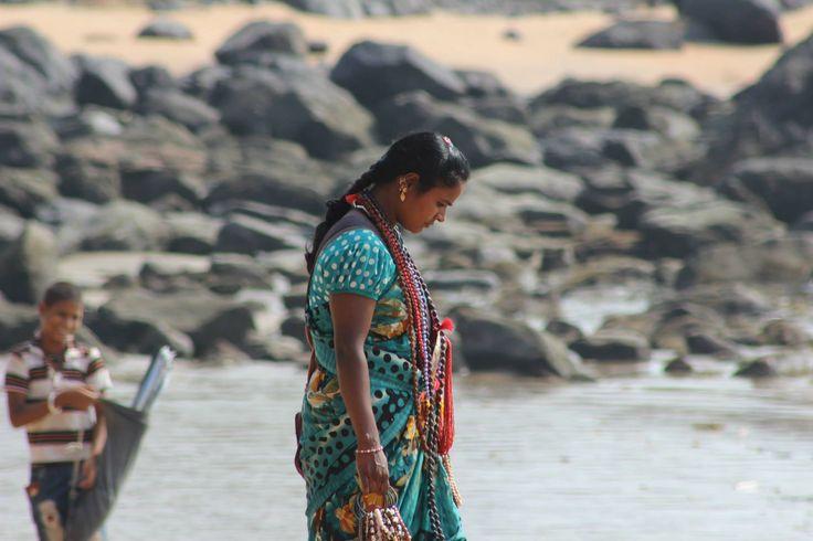 goa india indian beach lady female sari